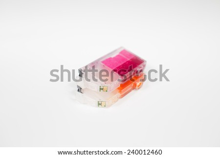 Empty color cartridges for color inkjet printers isolated on white background - stock photo