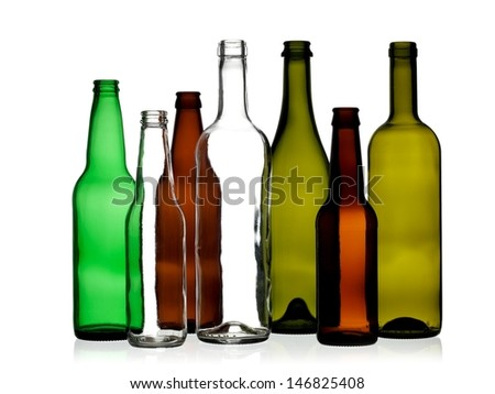 Empty color glass bottles - stock photo