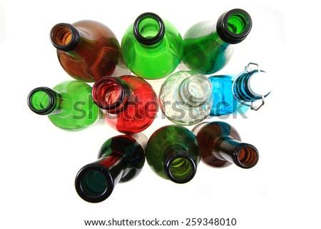 empty color glass bottles  - stock photo