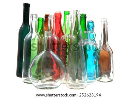 empty color glass bottles isolated on the white background - stock photo