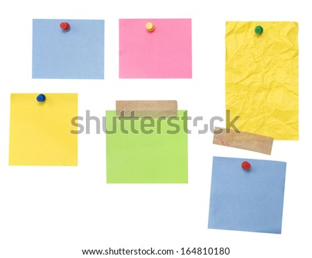empty color notes isolated on white