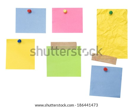 empty color papers isolated on white