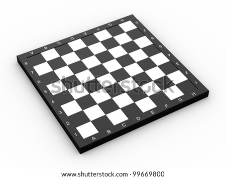 Empty colorless chess board over white background - stock photo