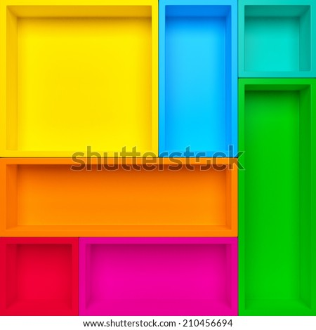 Empty colrful shelves background. Abstract creative background - stock photo