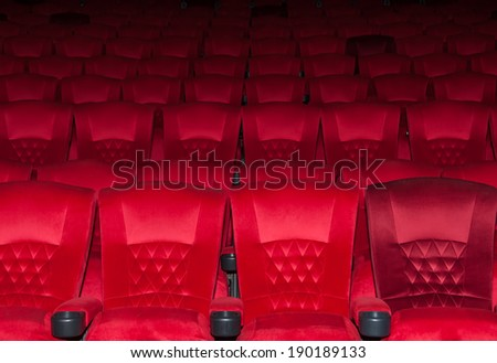 Empty comfortable red seats in thearter