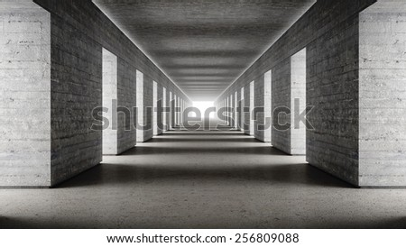 Empty concrete walls dark scary corridor with bright end 3d render - stock photo