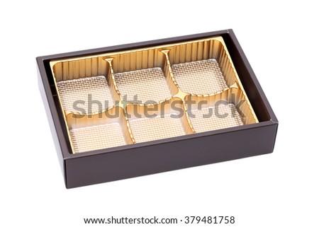 Empty confectionery box on isolated white background   - stock photo