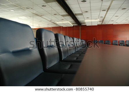 empty conference hall at the start of the conference meeting - stock photo