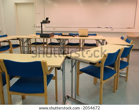 Empty conference room layout three, view - stock photo