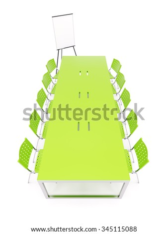 Empty conference table with flip chart isolated on white - stock photo