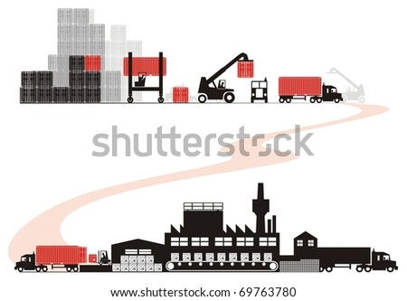 Empty container loading - Supply chain raster illustration set (Part One - from empty container selection to empty container arrival to shipper) - stock photo