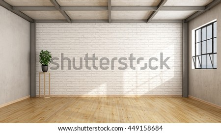 Empty contemporary loft with brick wall,wooden floor and iron beams - 3d rendering