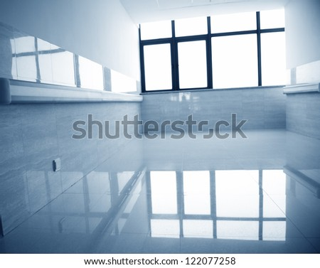 empty corridor in the modern hospital building. - stock photo