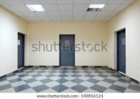 empty corridor in the modern office building - stock photo