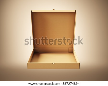 Empty craft paper open pizza box on blank background. Horizontal mockup. 3d render - stock photo