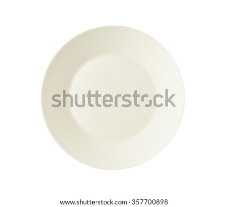 Empty creamy dinner plate isolated on white - stock photo