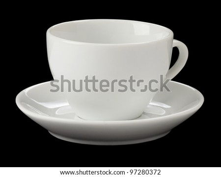 empty cup of coffee isolated on black background - stock photo