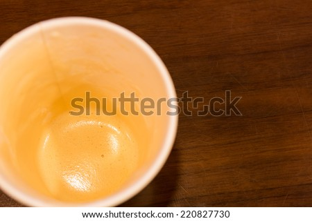 Empty cup of coffee  on a wooden table. - stock photo