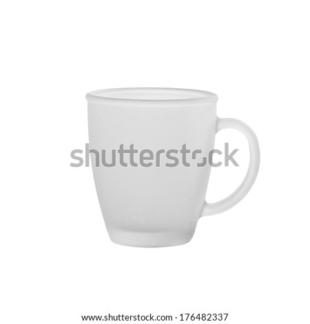 Empty cup of frosted glass on a white background