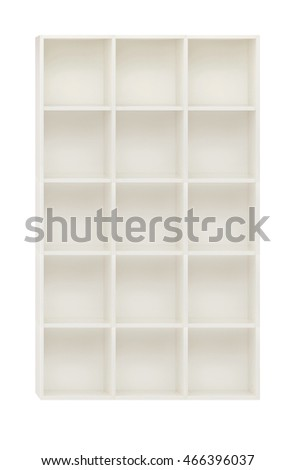 Empty cupboard in the white wooden shelves isolated on white