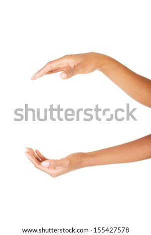 Empty cupped hand isolated on white background