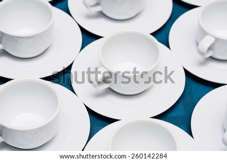 Empty cups on table - stock photo