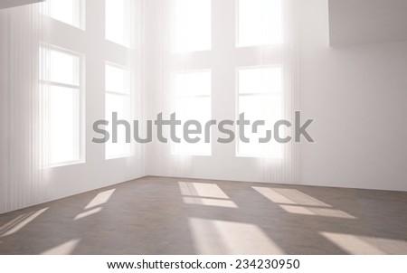 empty 3d interior - stock photo