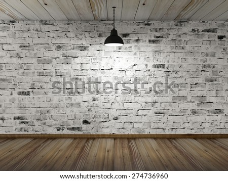 Empty 3D Room Interior with White Grunge Brick Wall, Wooden Floor and Hanging Black Lamp. 3D Rendering
