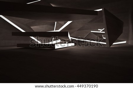 Empty dark abstract brown concrete room interior. Architectural background. Night view of the illuminated. 3D illustration. 3D rendering