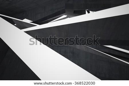 Empty dark abstract concrete room interior. 3D illustration. 3D rendering - stock photo
