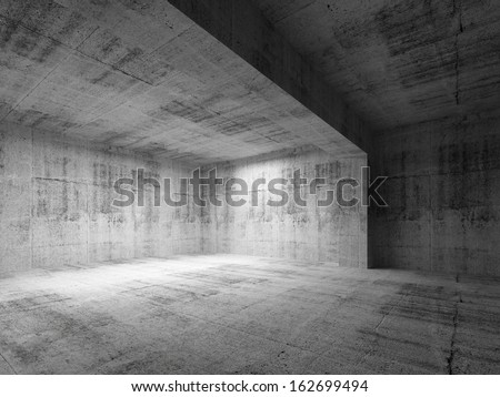 Empty dark abstract concrete room interior. 3d render illustration - stock photo