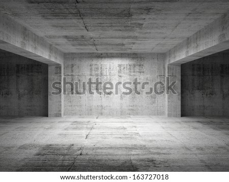 Empty dark abstract concrete room perspective interior. 3d illustration - stock photo