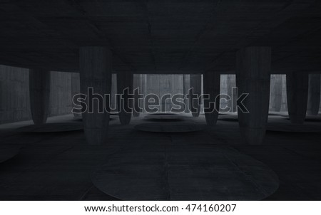 Empty dark abstract concrete room smooth interior. Architectural background. 3D illustration and rendering