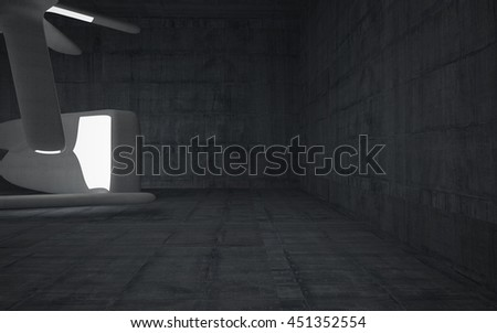 Empty dark abstract concrete room smooth interior. Architectural background. Night view of the illuminated. 3D illustration. 3D rendering