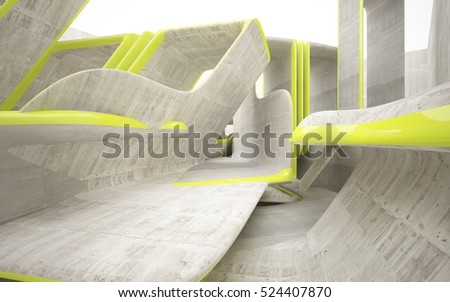 Empty dark abstract grey concrete room smooth interior with yellow lines. Architectural background. 3D illustration and rendering