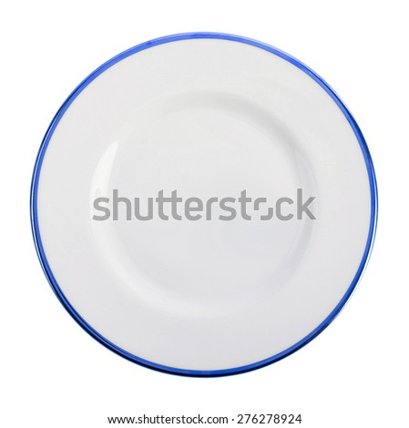 Empty dark blue plate isolated on white - stock photo