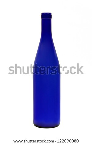 Empty dark blue wine bottle isolated on a white background - stock photo