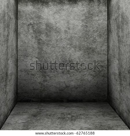 Empty dark concrete interior