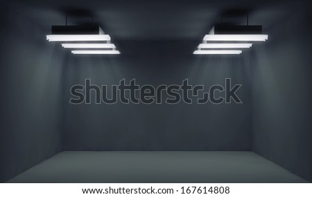 Empty dark room with lightrays - stock photo
