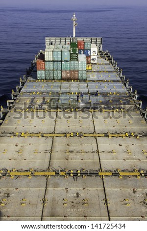Empty deck of the large container ship. - stock photo