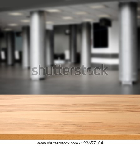 empty desk and empty interior of office  - stock photo