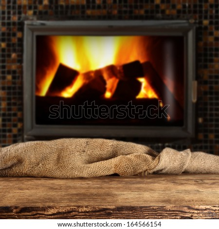empty desk and fire place  - stock photo