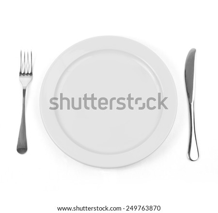 Empty dinner plate with knife and fork on white