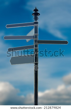 Empty direction sign, blue sky in background - stock photo