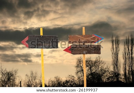 Empty direction sign boards - stock photo