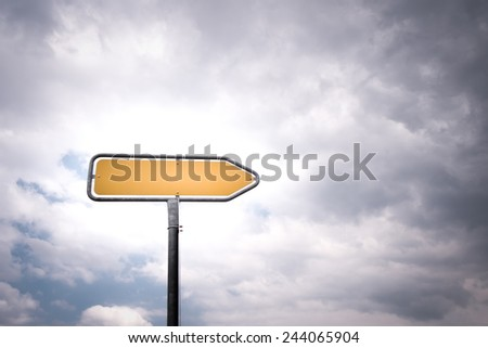empty directional road sign with pointing arrow - stock photo