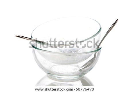 empty dirty dishes. isolated on white - stock photo