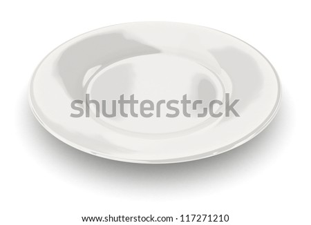 Empty dish - isolated on white - stock photo