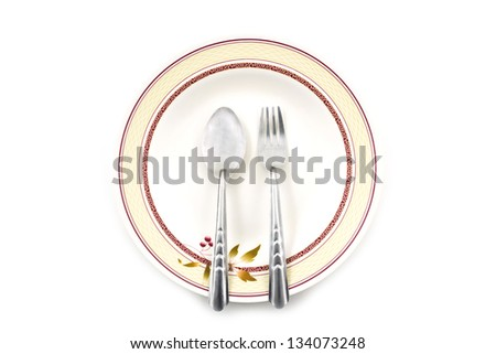 Empty dish spoon and fork on white background