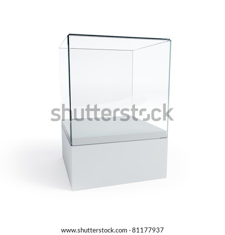 empty display case, isolated 3d render - stock photo